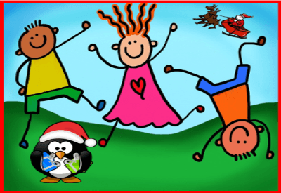 Drawing of stick figure kids dancing on a green background