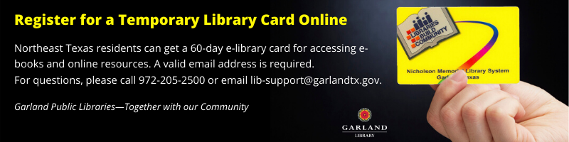 "Black rectangle with a picture of a library card. Text is ""Register for a library card online"""