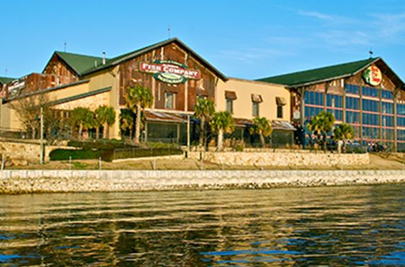 Large Bass Pro shop on the riverbank