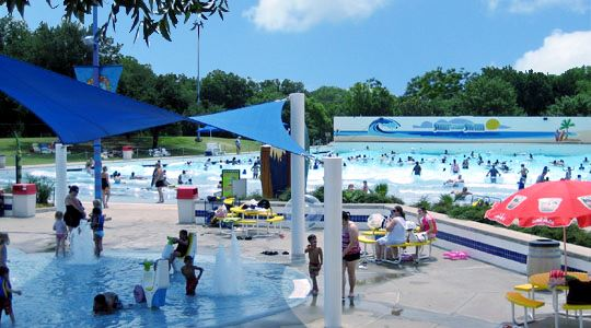 Surf and Swim with pavilion and wave pool in back