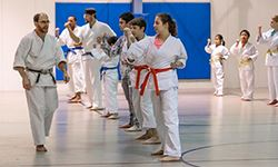 Adults and kids participating in karate exercises