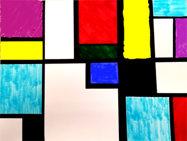 Picture of colored squares and rectangles for Little Art Explorers Mondrian workshop